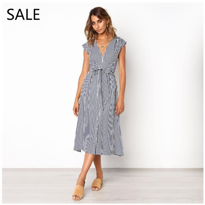 Woman Casual Dress Blue Yellow Striped Print V Neck Ladies Classic Summer Daily Dresses Girls Dress Breathable Cotton New Arrival