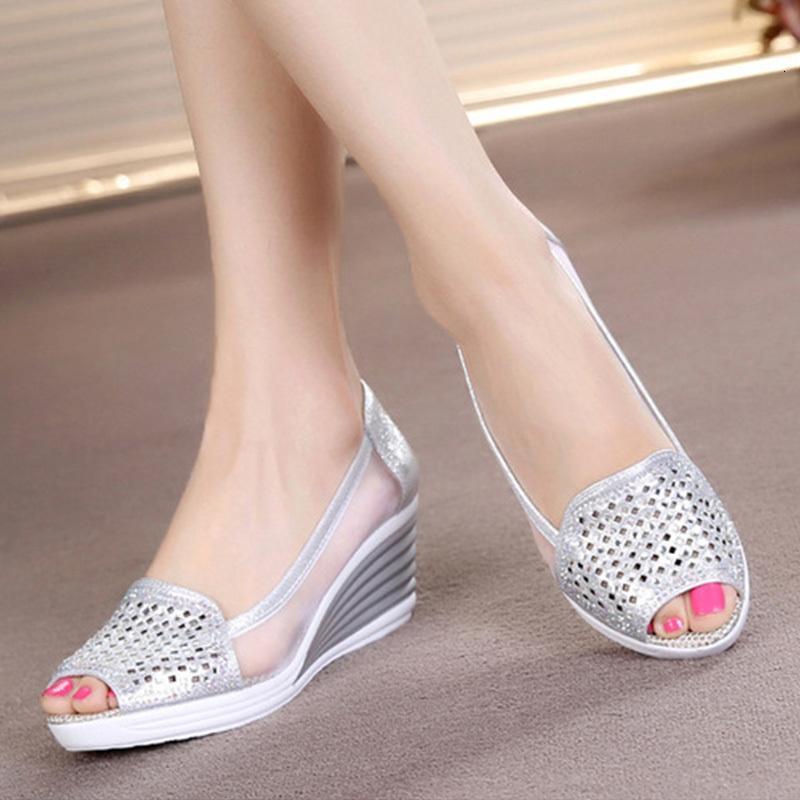 Yaz Kadın Hollow Out Sandalet takozları Ayakkabı Platformu Peep Toe Yüksek Topuklar Kadın Moda Nefes Mesh Ayakkabı Bayanlar Slip On