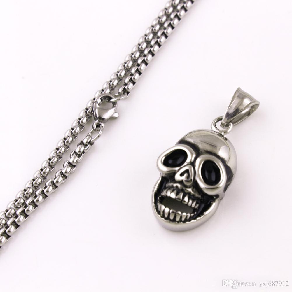 Hot Sale Punk Rock Stainless Steel Skull Skeleton Pendants Necklaces Charm Jewelry Party Gift Drop Shipping