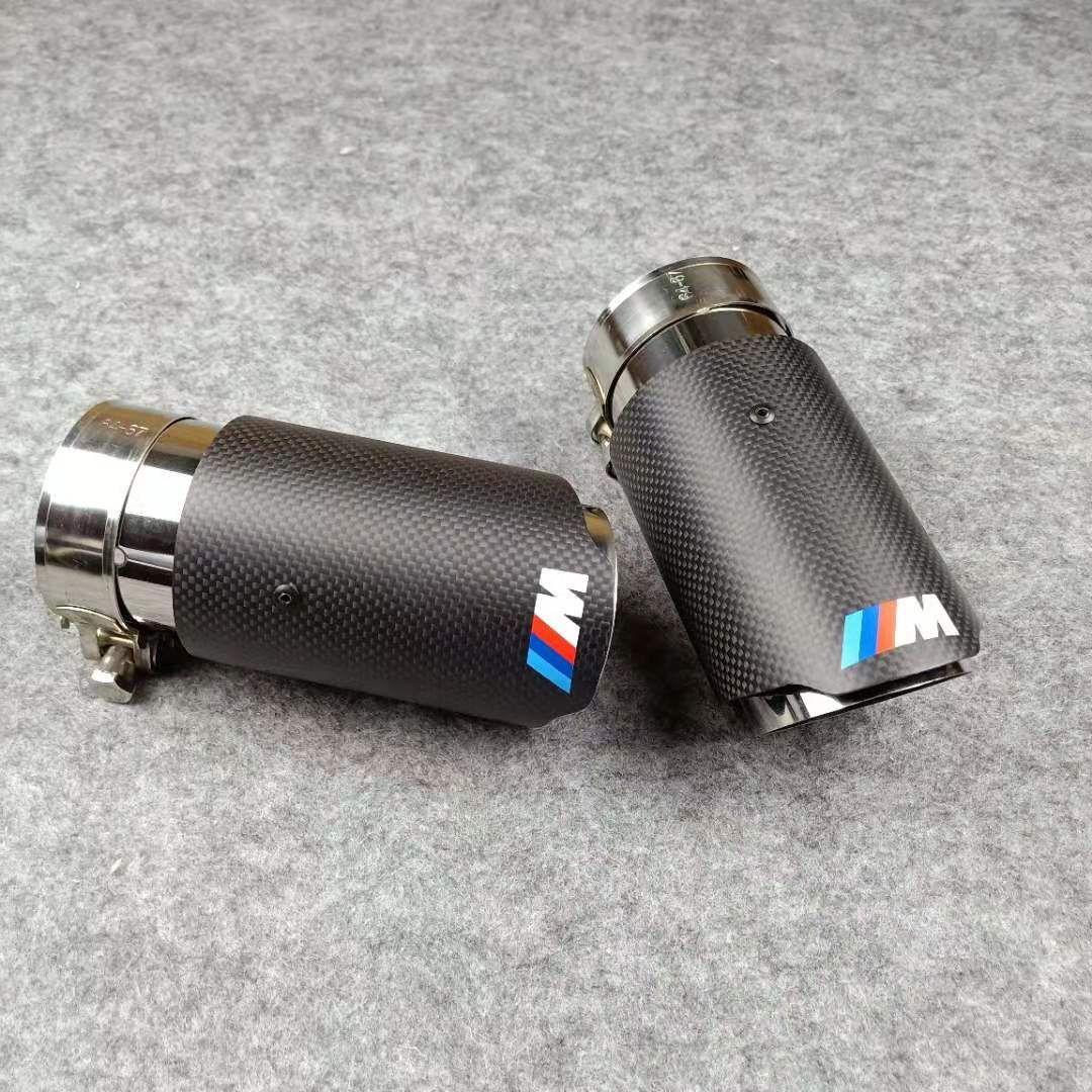VW AUDI BENZ, BMW PORSCHE Susturucu sonu Borular için Toptan 1PCS Araç M LOGOSU Egzoz İpuçları Parlak Karbon + Paslanmaz Çelik İpuçları