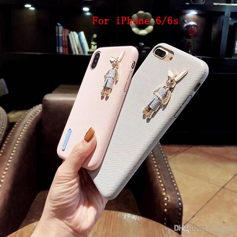 2 Colors Cute Cell Phone Case Accessories Suitable for iPhone 6/6s Fresh and lovely rabbit silicone soft shell phone case