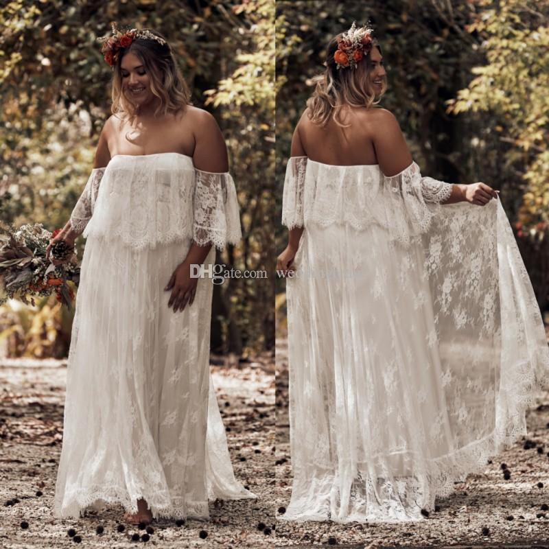 Discount Fashion Bohemian Plus Size Lace Wedding Dresses Off The Shoulder  Short Sleeves Beach Bridal Gowns A Line Floor Length Boho Vestido De Novia  ...