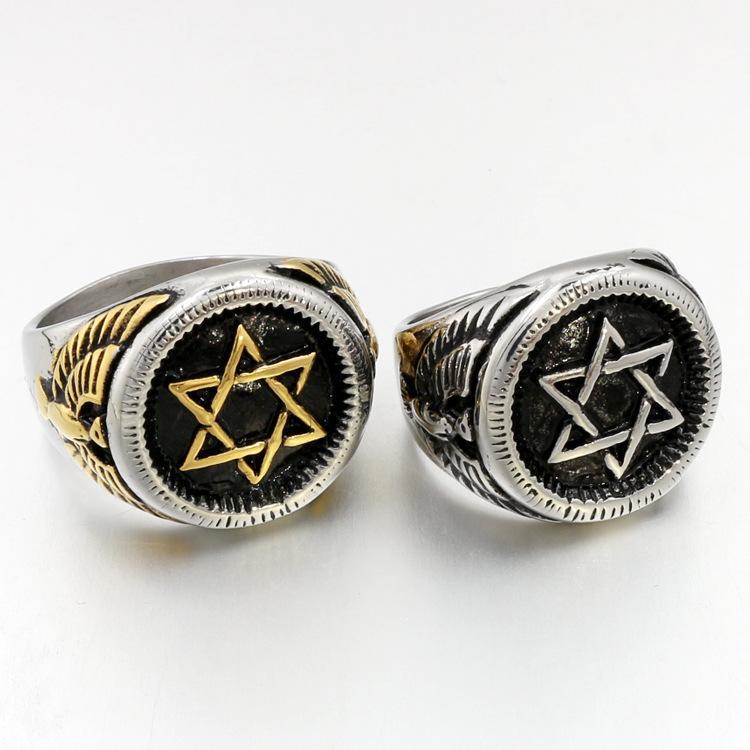 Звезда Давида кольцо из нержавеющей стали мужчины кольцо золото / серебро цвет Орел панк-рок стиль для мужчин женщин старинные ювелирные изделия