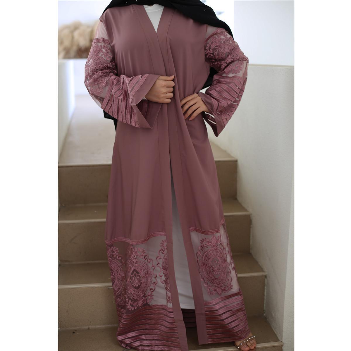 İşlemeli Kimono Abaya Dubai Ortadoğu Müslüman Kadın Hırka Robe 2020 Yeni Ramazan Eid Kıyafetler CM1546