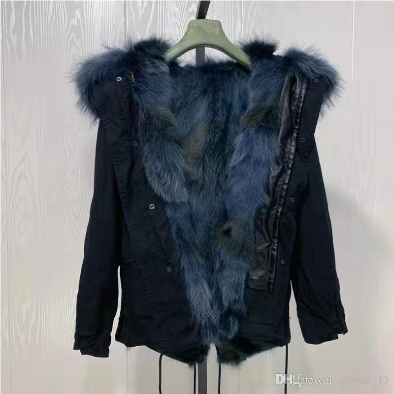 Imagens reais Mukla peles de marca azul marinho pele de coiote forrado preto mini mulheres jaquetas com ykk zipper azul marinho guarnição de pele de guaxinim
