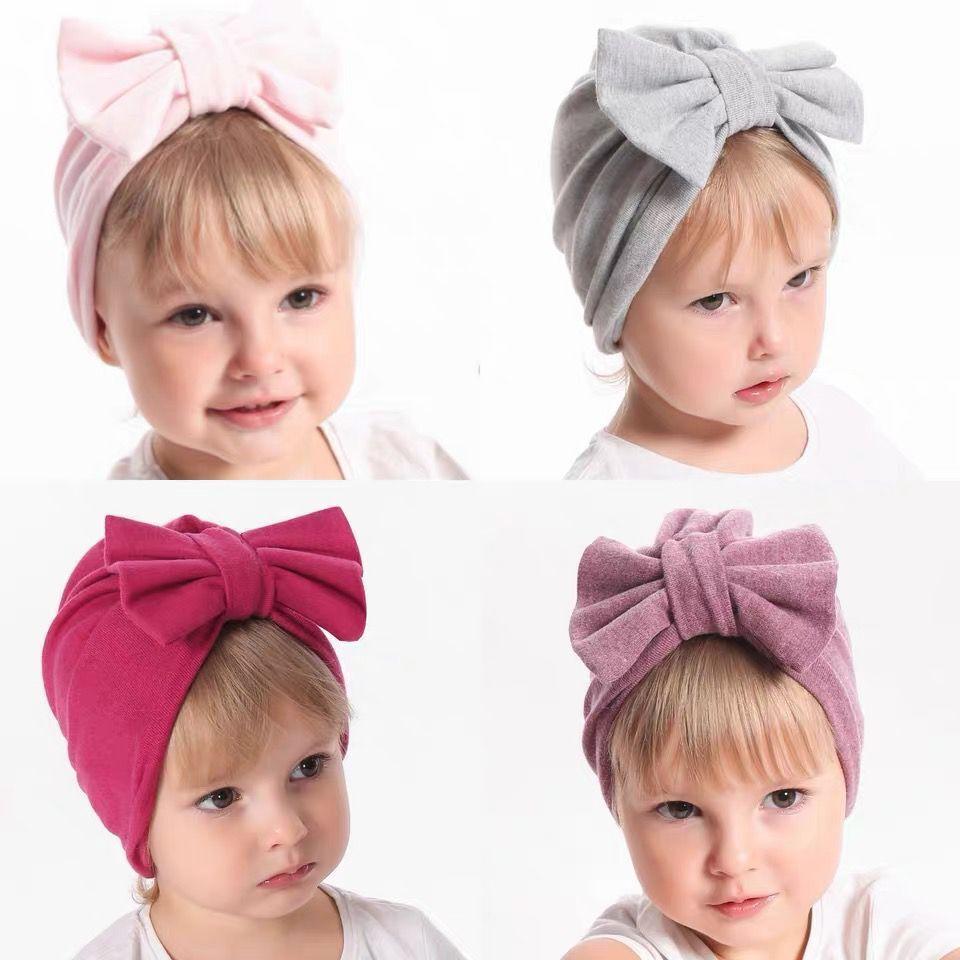 Детские дети двойной вязание шляпа осень зима новые дети кашемировые банты шляпы новорожденных мягкие шляпы новорожденных девочек теплые шапочки 12 цветов A2050
