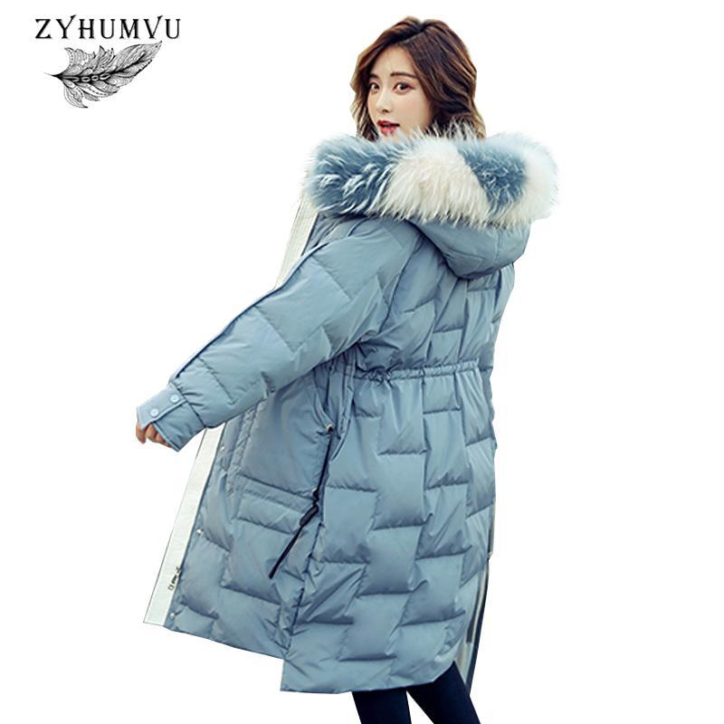 Damen Down Parkas 90% Weiße Ente Jacke Frauen 2021 Mode Pelzkragen Slim Große Größe Outwear Verdicken Warme Mäntel Weibliche lange Parka ZY774