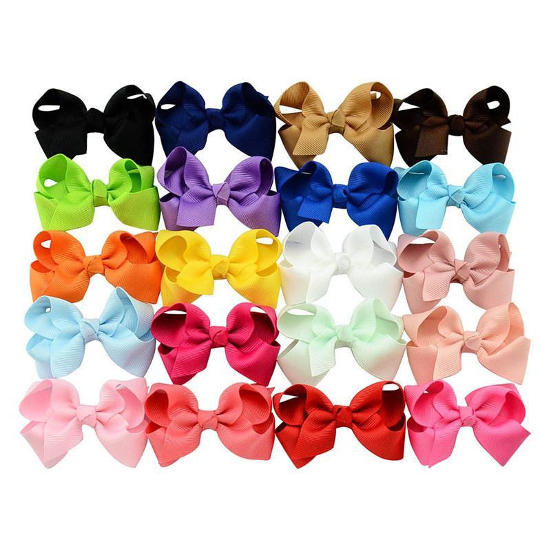 Heißer Verkaufs-Haar-Bogen-Mädchen feste Band-Haar beugt mit Klipp-Boutique Haarspange Hairpin Hair Accessoires Kinder Hairpin 20 Farben geben DHL D497Q