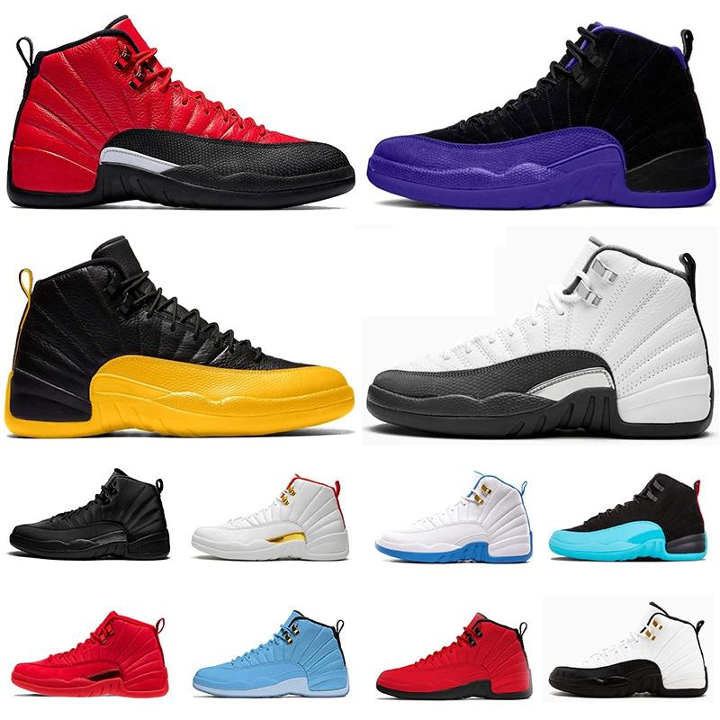 REVERSE Trainers FLU GAME 12 Mens Basketball Shoes 12s XII New Jumpman 23 DARK CONCOR BULLS Gold FIBA Sports Sneakers Size us 13
