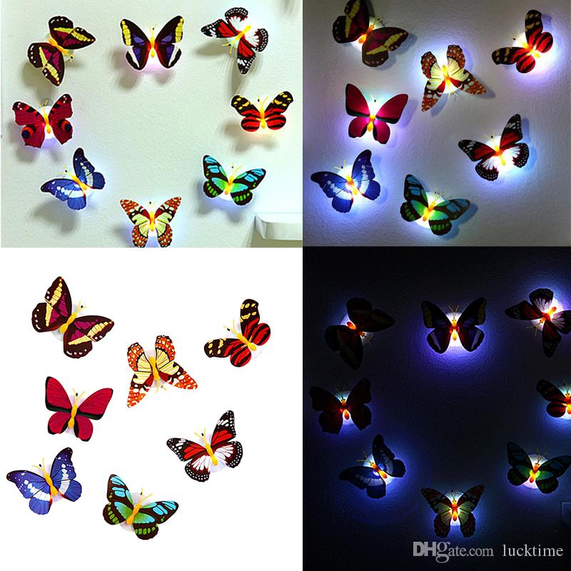 Hot 10 Pcs Wall Stickers Colorful Glowing Butterfly LED Lights Night Light Wall Stickers 3D House Home Decoration Sticker Kids gift