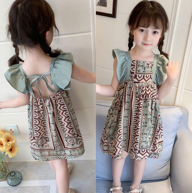 2020 meninas novas Princesa vestido floral verão Miúdos bonitos Impresso manga Falbala vestido de crianças sem encosto arcos rendas-up vestido plissado C6399