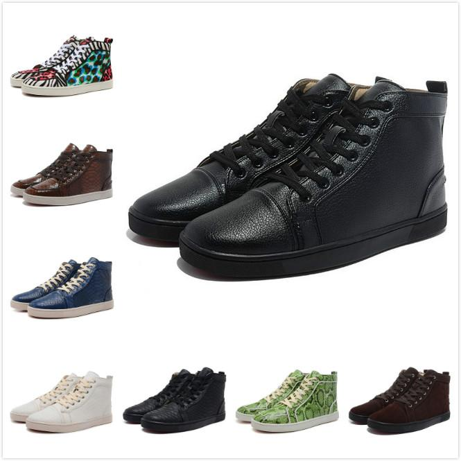 Top Quality Designer Brand Red Bottom Shoes Men and Women Black Genuine Leather Lace Up High Top Casual Shoes Luxury Trainer Shoes 35-47