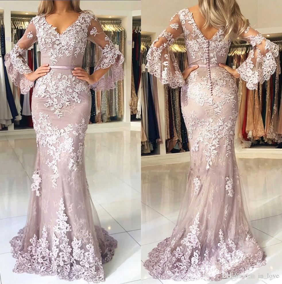 Handmade Appliques Lace Prom Dresses 2019 V Neck Long Flare Sleeves Floor Length Mermaid Formal Evening Gowns Custom Size