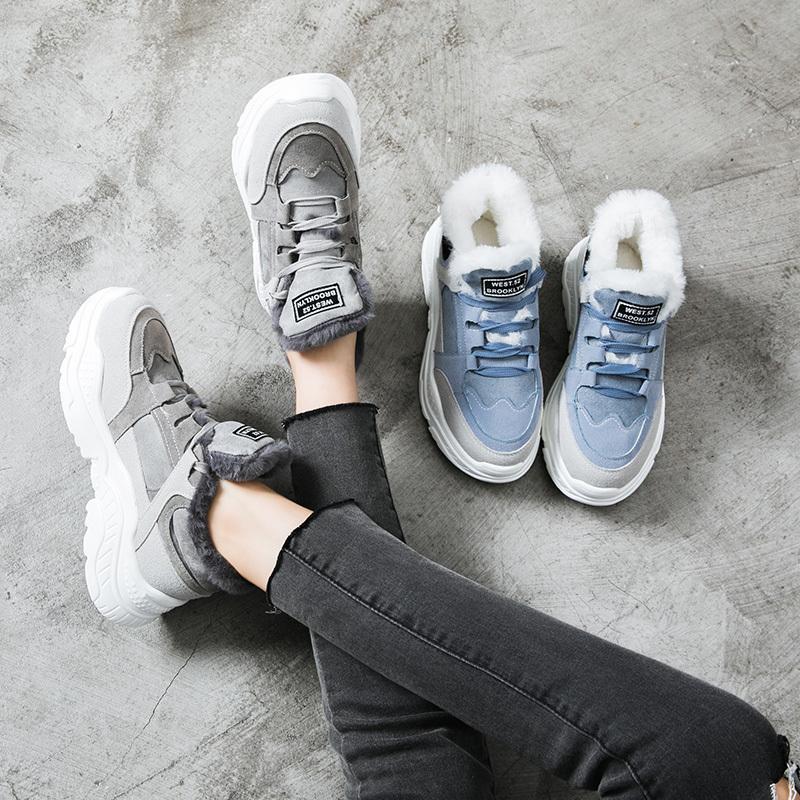 2020 Schuhe Winter Warm-Plattform Frauen-Schnee-Plüsch-Female-zufällige Turnschuhe Faux Wildleder weibliche Winterstiefel warme Schuhe Pelz