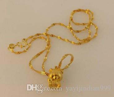 Moda de baixo preço de alta qualidade homens cheios de ouro * mulheres colar de pingente de cadeia 12.6tr