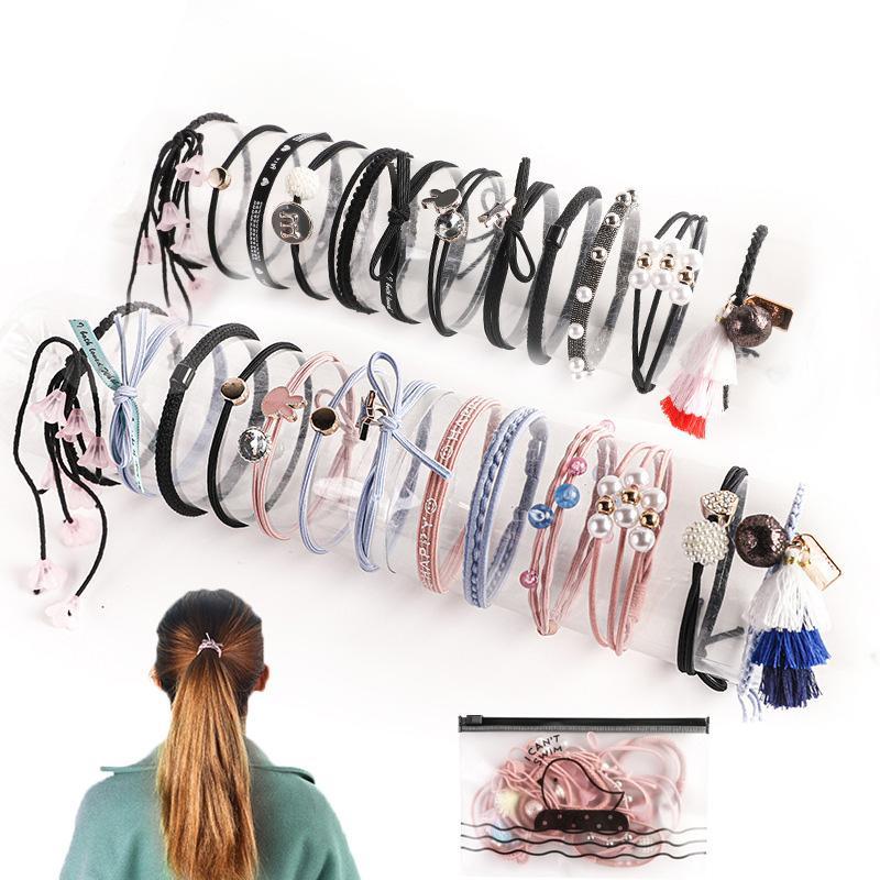 Nouveau mode Noeud mignon des bandes élastiques en caoutchouc cheveux Ponytail Anneaux cheveux Bracelets Chapeaux Accessoires de cheveux pour les femmes fille (jeu de 12 pièces)
