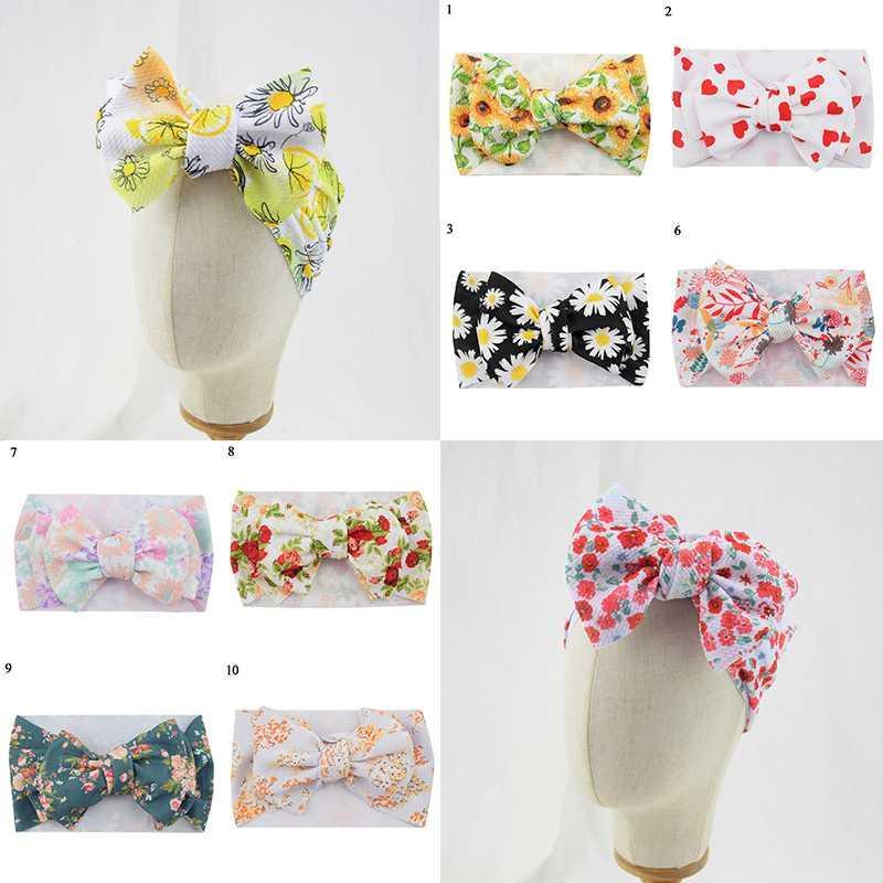 Moda Bebés Meninas Adorável Big bowknot headwraps Headbows infantil Ampla bebê Headbands Daisy Impresso Floral Acessórios de cabelo turbante