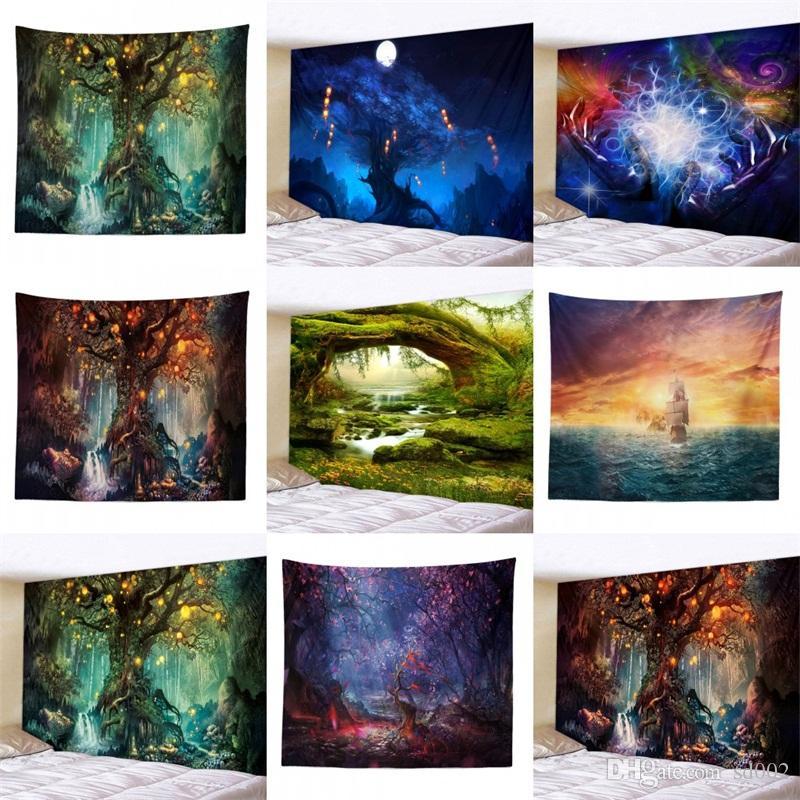 Sternenklarer Himmel-Baum-Tapisserie-fantastische Landschaftsmulti Größen-Badetuch-Tapisserien für populäre heiße Verkaufs-Inneneinrichtung 18rr UU 3D