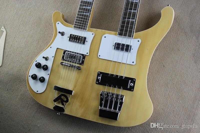 Gute Qualität! Neue Linke Hand Doppelkopf Doppelhals 12 Saite Doppel-String E-Gitarre plus vier String Bass Holz