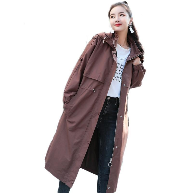 2019 Spring Fall Autumn Women Casual Simple Zipper Loose Long Trench Coat Female Warm Hooded Windbreaker Raincoat Overcoat X57