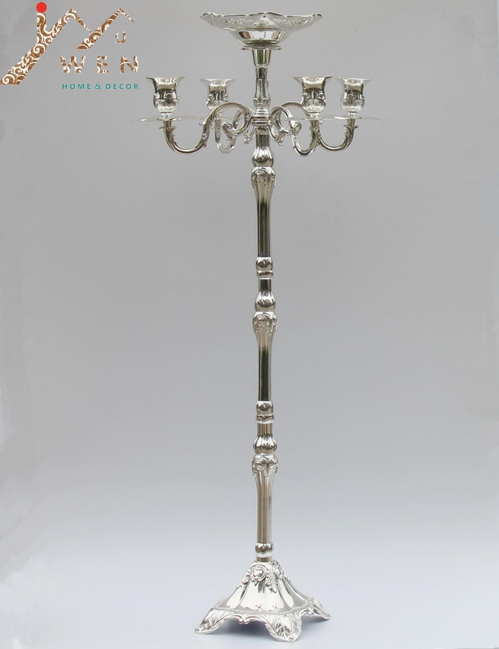 Top rated silver plated floor candelabra 83cm metal candle holder pure silver candleholder with nice flower bowl