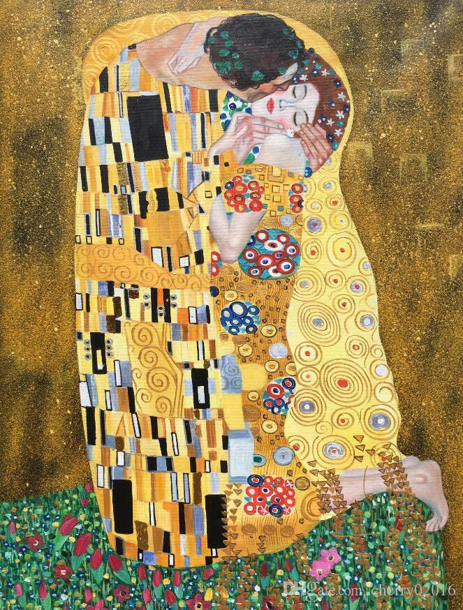 Ручная роспись масляной живописи поцелуй знаменитая работа густава климта Холст, серебро и сусальное золото Портретная живопись женщины Домашний декор