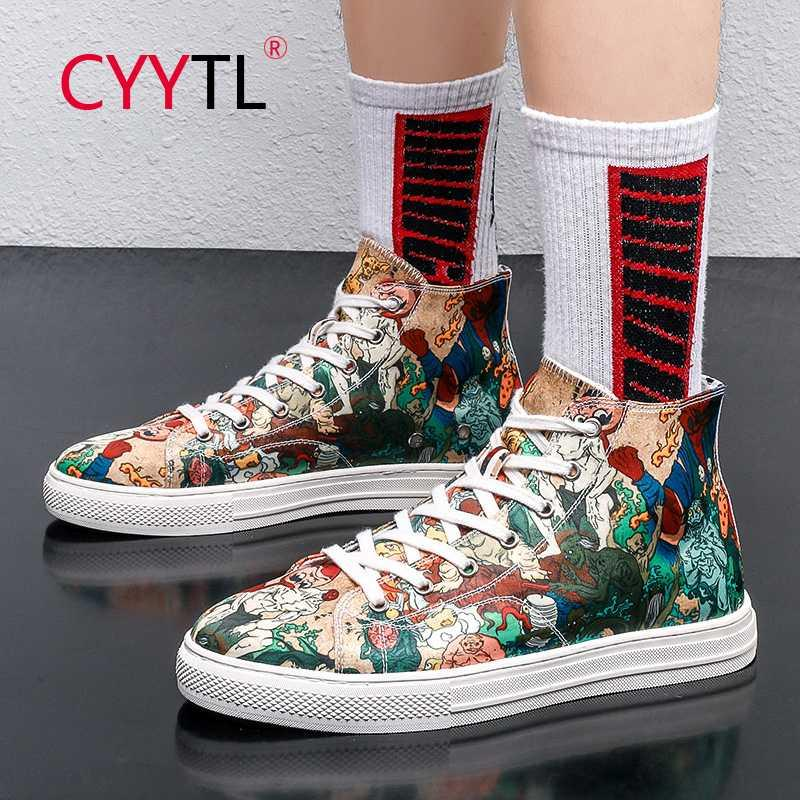CYYTL New Men Moda High Top Sneakers Lace Up Sports Shoes Santo 5D Printing Flats respirável Casual Men Zapatos De Hombre