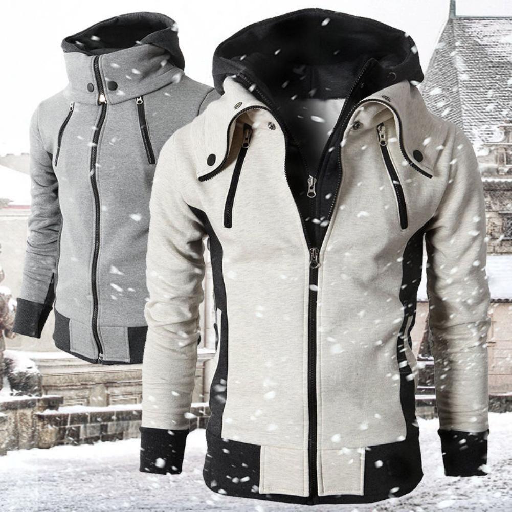 2020 Kış Moda Erkekler Kaplumbağa Yaka Uzun Kollu Hoodie Kazak Sıcak Ceket Eşarp Yaka Moda Erkek Dış Giyim Hoody Cepler