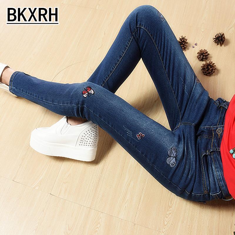 2017 neue hohe Taille Frauen Jeans Frauen Butter Gestickte Füße Jeans dünne dünne Stretch-Hosen Bleistift
