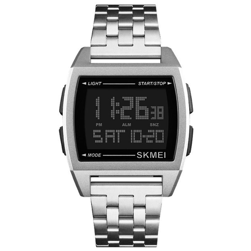 SKMEi Sports Steel Belt Watch Men Led Digital Waterproof Electronic Watch 1368