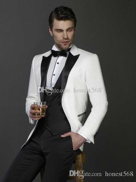 Beau Un bouton Groomsmen pic Lapel smokings marié hommes Costumes de mariage / Prom / Dîner Best Man Blazer (veste + pantalon + cravate + Gilet) A324
