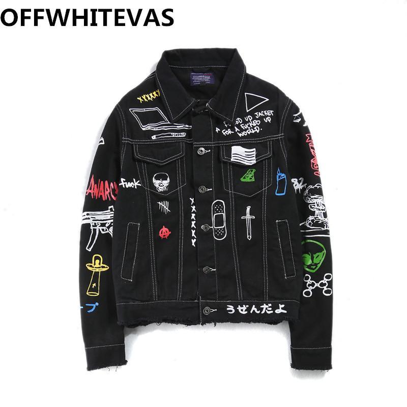 Мода harajuku куртка отложной воротник хлопок верхняя одежда рваные мужчины джинсовая куртка мужская yokosuka граффити хип-хоп Ковбой
