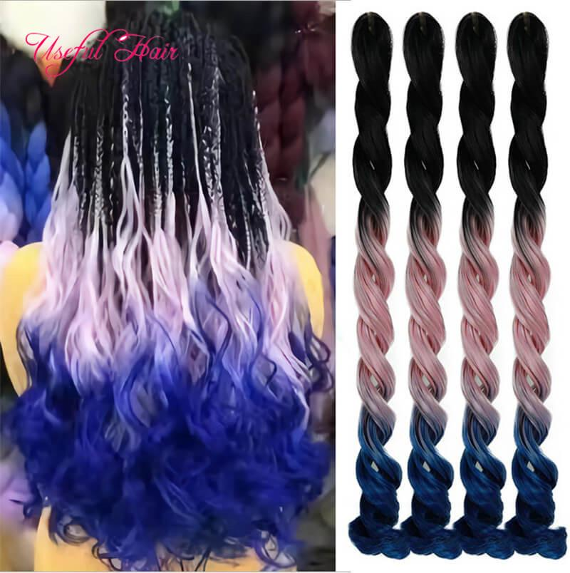 Long SEA Body Braiding Hair Extensions 24inch Crochet Braids Sea Body Synthetic Hair Extension Style 100g Pure Ombre Color for Women 2020