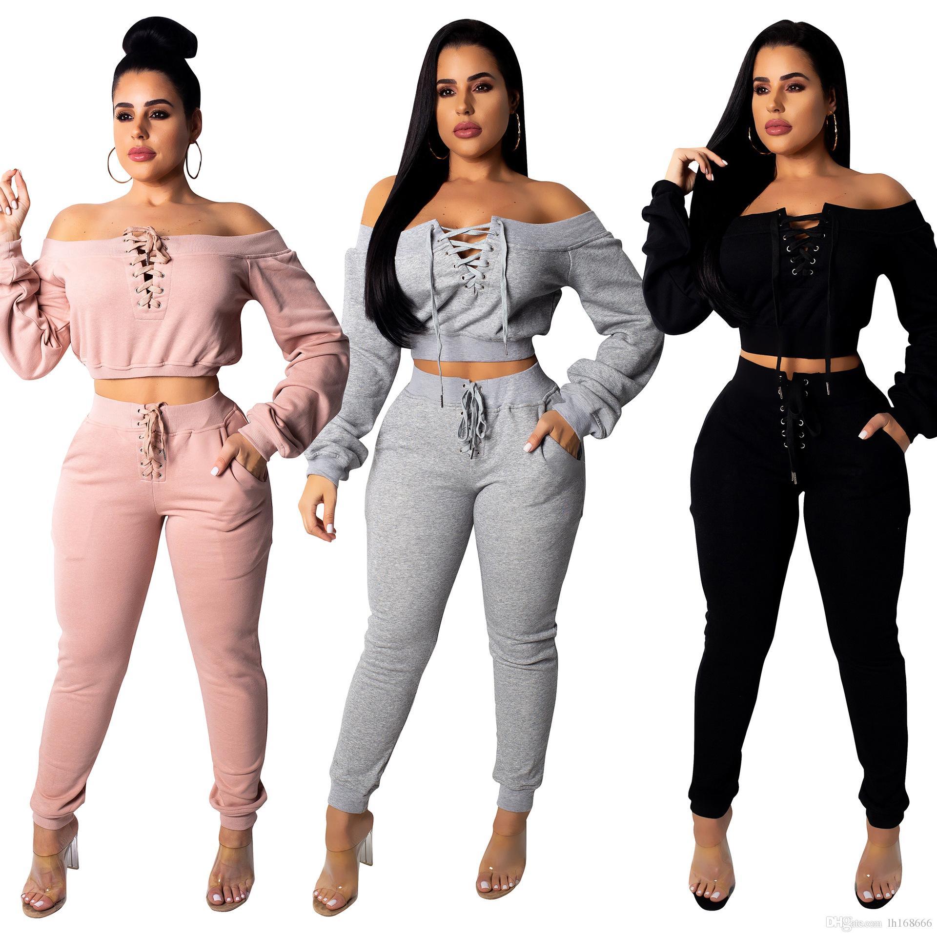 Automne 2019 Nouveau Sexy Night Club Marque Fashion 2 Piece Set Solid Slash Neck Pleine Manches Creuser Full Lengtth Set Survêtements Costume Sport