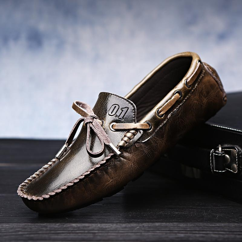 Scarpe di guida degli uomini di Uomini fannulloni pattini di cuoio genuini Handmade respirabile morbido Flats Slipe su scarpe