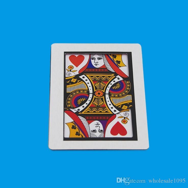 Three Card automatico (formato poker, 8.8x6.4cm) trucchi magici K a Q Carta Magia piano Gimmick Puntelli Accessori Fun YH1921