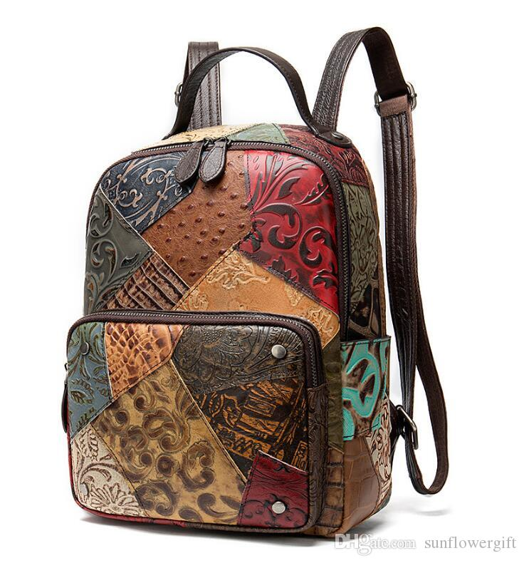 New Design China style New women's bag head layer cowhide embossed women's backpack hit color handmade leather large-capacity backpack women