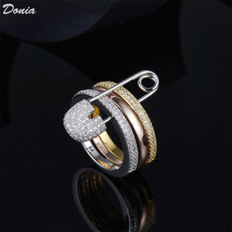Dona gioielli Anello di lusso esagerato Tre anello in rame intarsiato pieno di zirconi regali creativi europei e americani