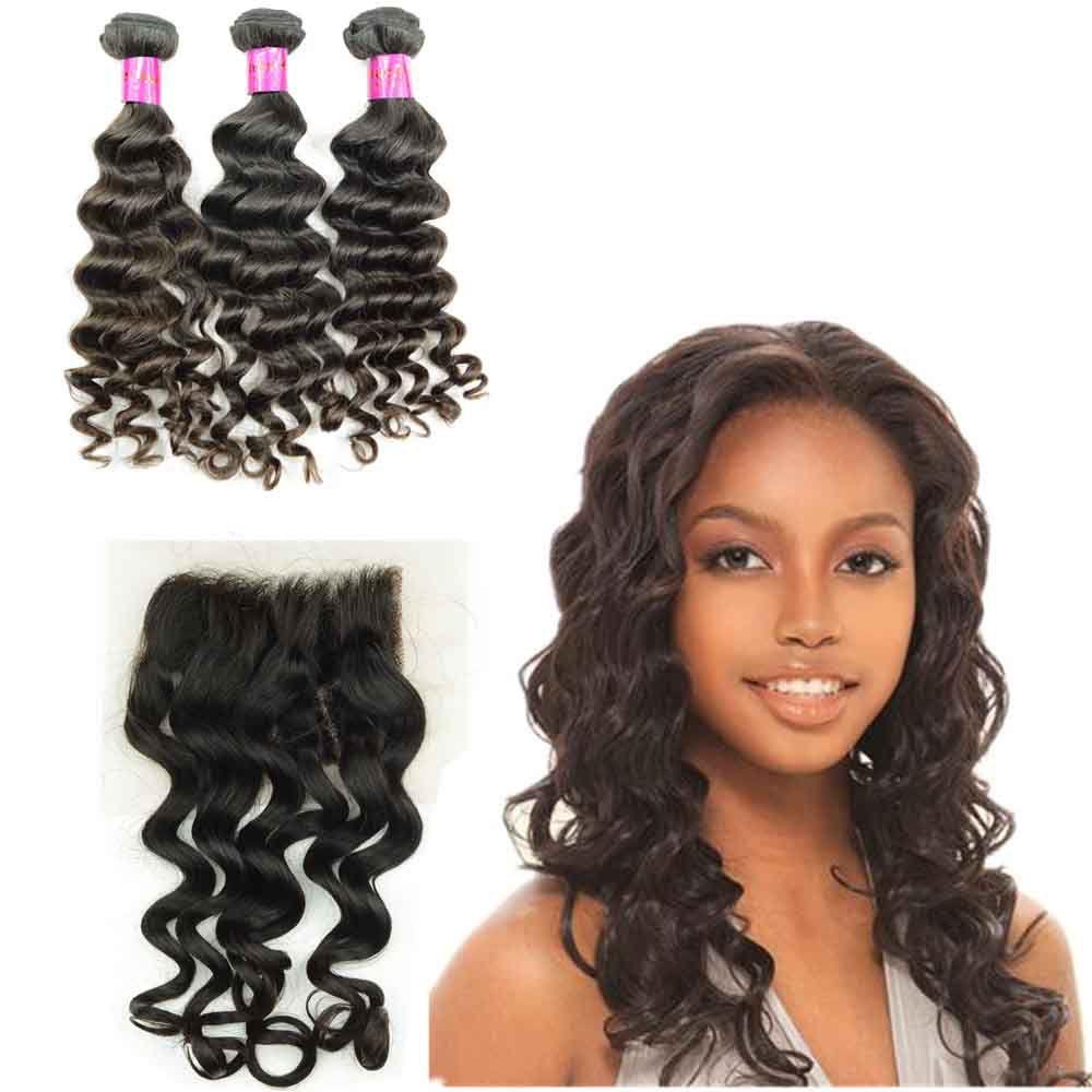 Virgin Brazilian Indian Human Hair Weft 3 Bundles with closures Loose Deep Curly Peruvian Malaysian Braiding Hair Extension Dyeable 4x4 Lace