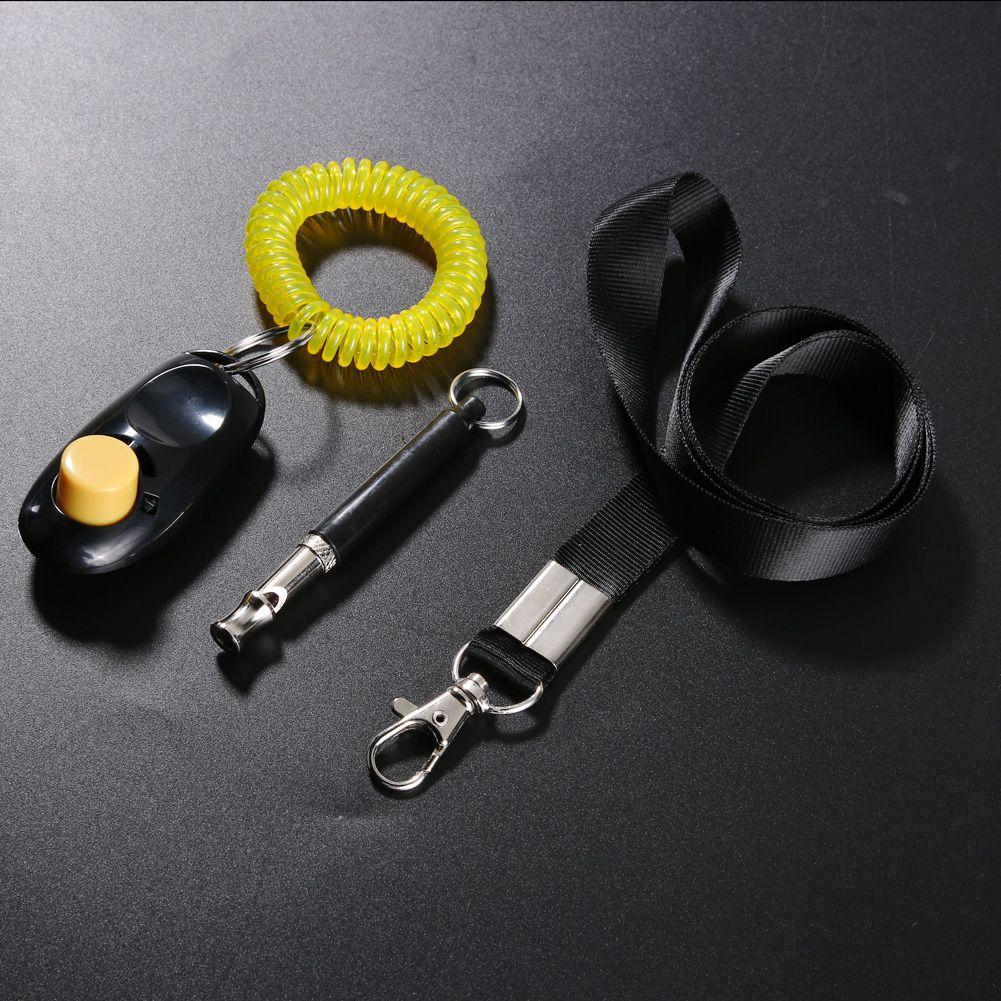 Ultraschall 1 Satz 9 cm Hundekupfer Trainingspfeife + 8 x 3,5 cm Haustier Pc Training Clicker + Einstellbare Polyester Lanyard Set