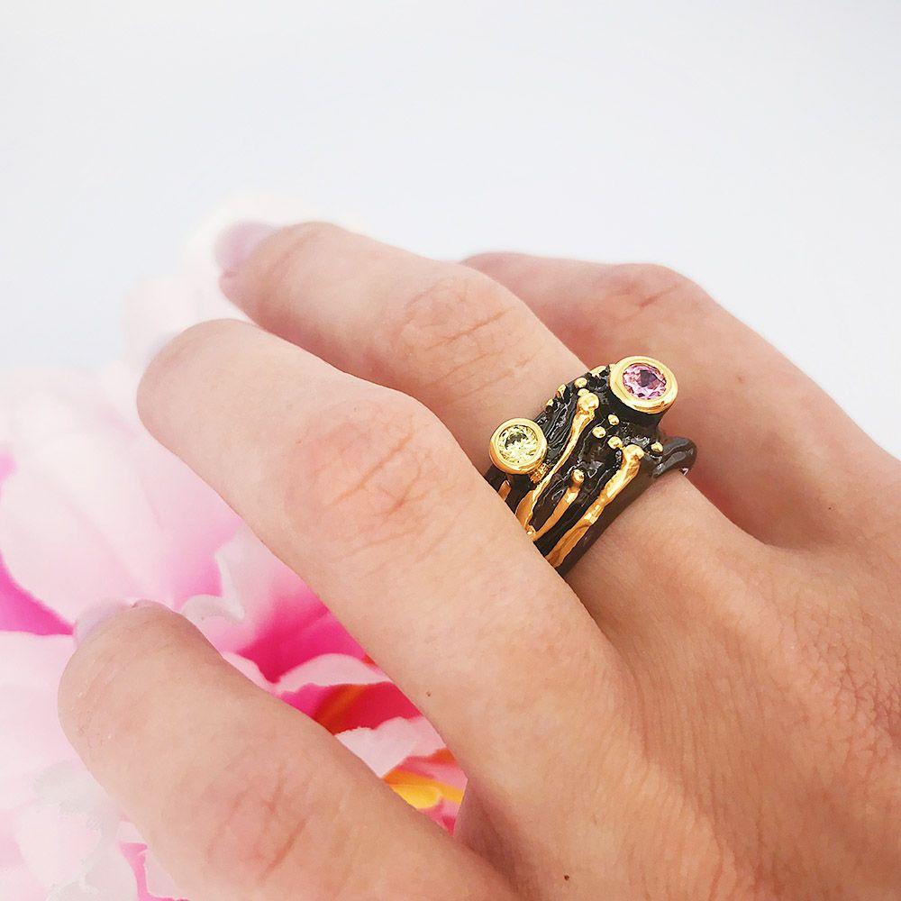 il design fashion- anelli tondi cristallo gioielli anel anulare rosa Olivina zirconia alla moda per le donne