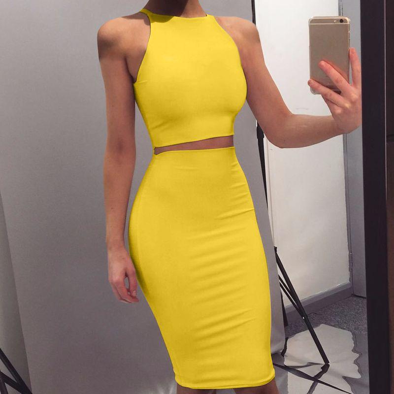 Crop Top e Gonna Due pezzi Dress Dress Set Yellow Club Summer Outfit Vestiti sexy per le donne Set di corrispondenza