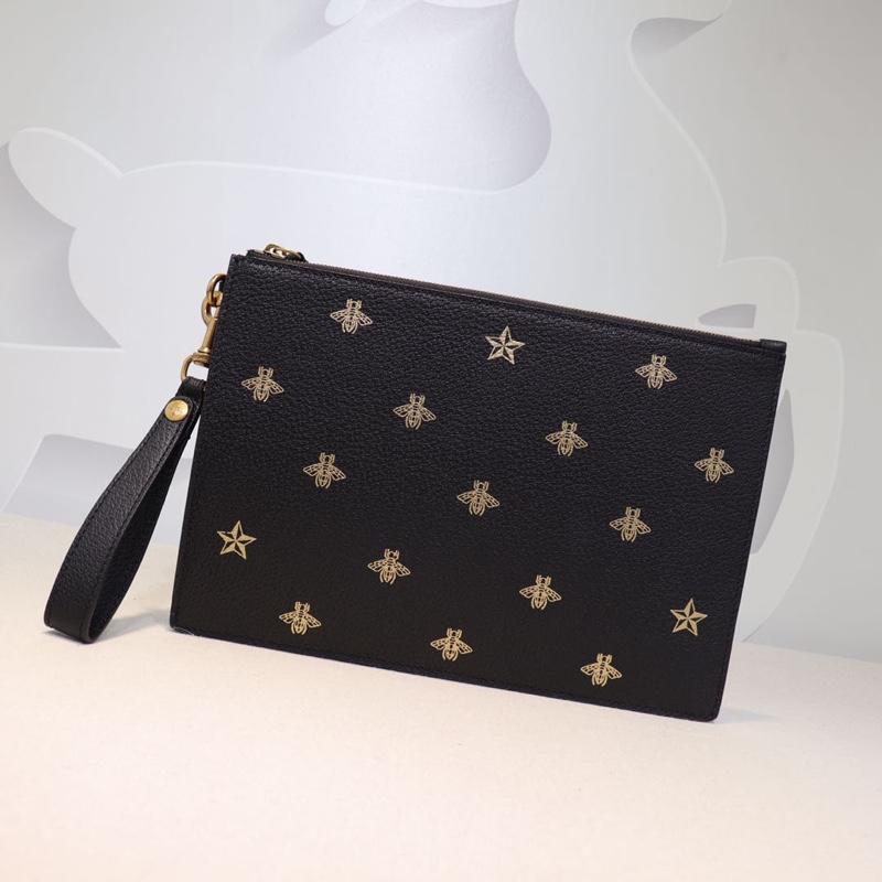 Yeni kadın En kaliteli lüks çanta Erkekler Debriyaj Çanta moda çanta Tasarımcısı Işlemeli arılar Hakiki deri çanta boyutu W31 * h21cm model 495066
