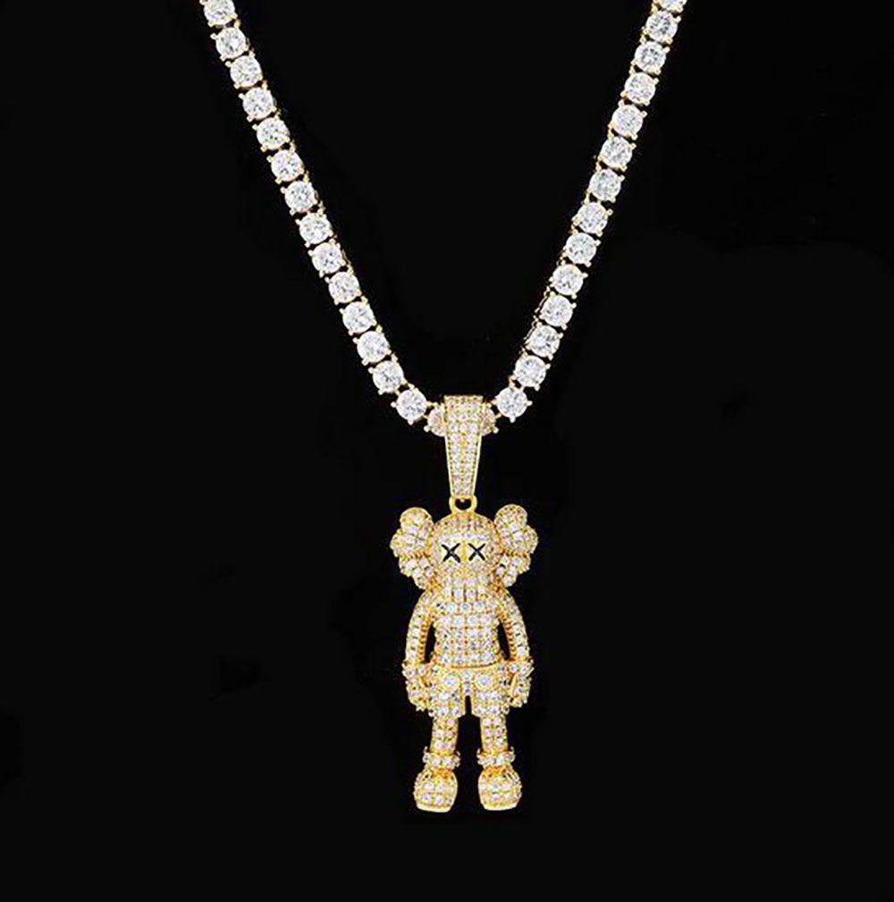 Muñeca pendiente del oro 14K plateado Ins dibujos animados Collar Micro Pave Cubic Zirconia Diamantes con Cadena regalos 24inch caja simulado