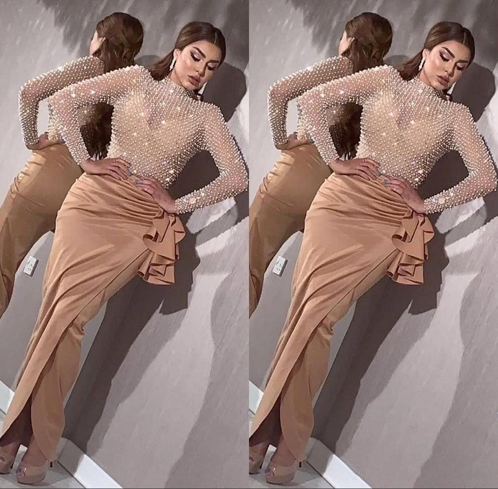 Luxury Pearls Beaded Mermaid Evening Dresses 2020 Elegant Long Sleeves Evening Gowns Arabic High Split Prom Dress robe de soiree