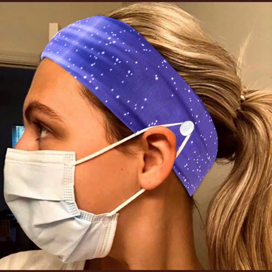 Şapkalar maske Tutucu Bant Eşarp Başörtüsü spor Bandana LJJA4012 ile Yoga baskı maske Düğme Kafa bandı Tutucu Koru Kulaklar