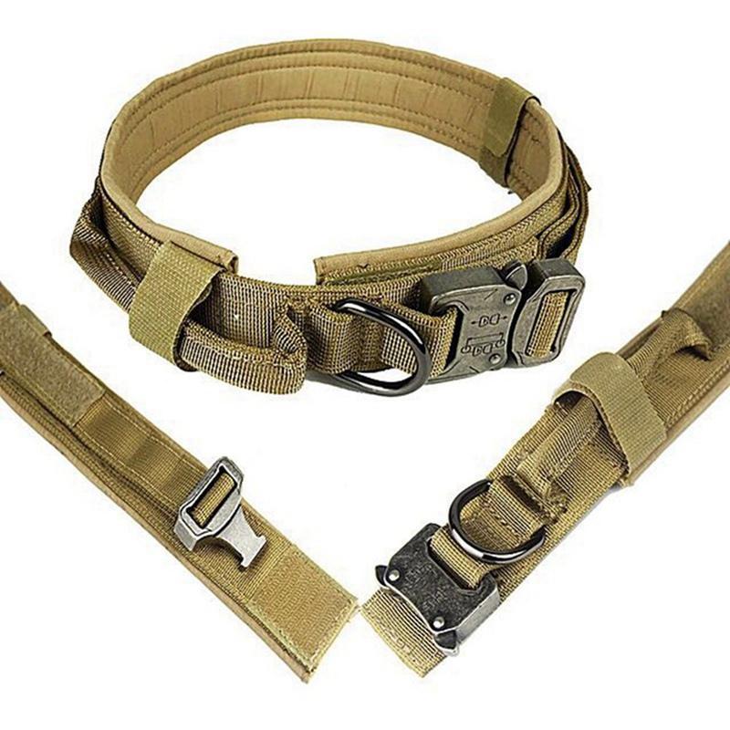Coleira de cão tático Heavy Duty Com Handle Controle Pet ajustável Treinamento Militar Walking Collar Large Collar Dog Pet Shop