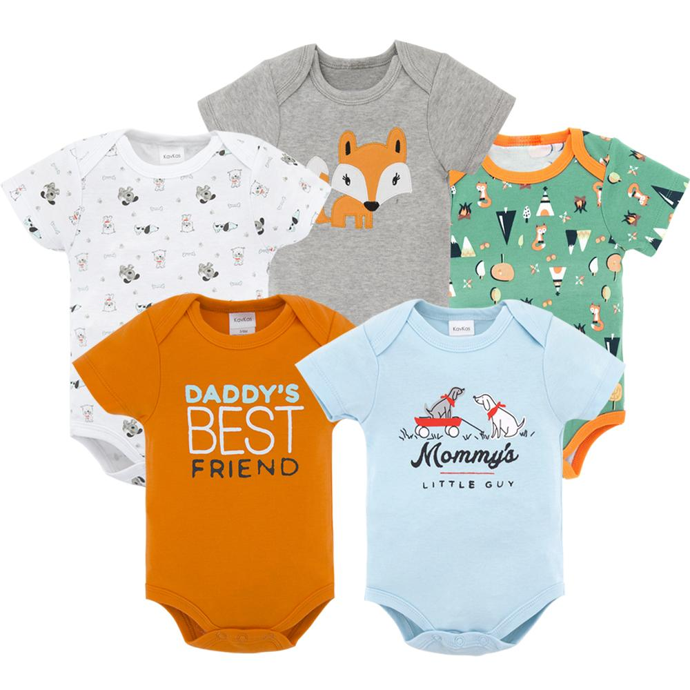 5 PCS/LOT Baby Boy Bodysuits Short Sleeve 2020 Summer Cotton Infant Newborn Baby Girls Boys Jumpsuit Clothes Blue Green White
