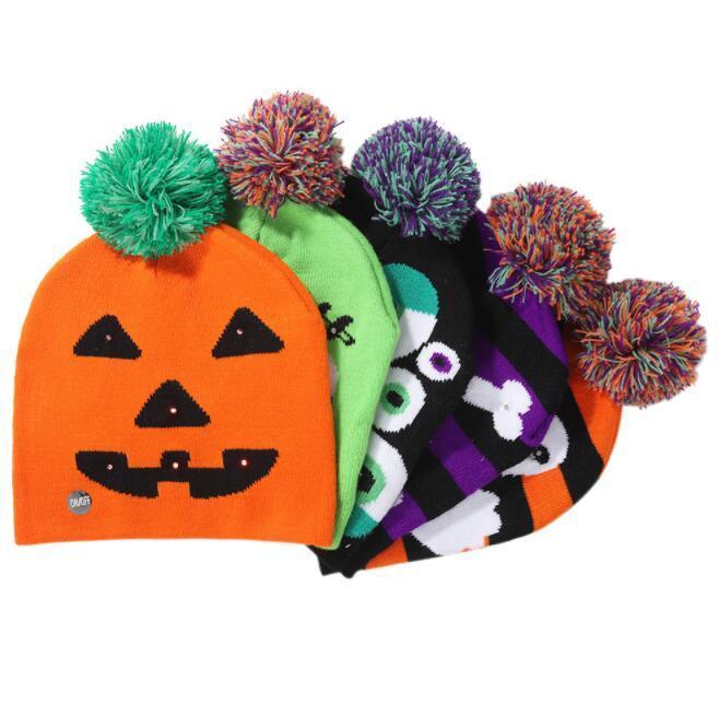 Led de Halloween para niños hicieron punto los sombreros Moms bebé caliente Caps Gorros de ganchillo invierno para calabaza acrílico gorro regalo de la decoración del partido de los apoyos A0041