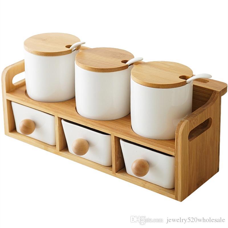 Utensilios de cocina para el frasco de aderezo de cerámica / botella de sal y pimienta.